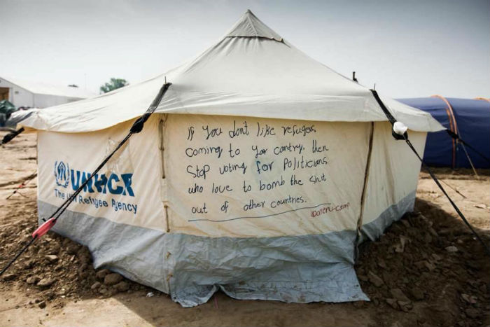 Tent of the refugees camp in Chios (Greece)